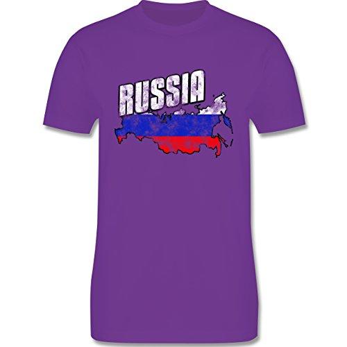 EM 2016 - Frankreich - Russia Umriss Vintage - Herren Premium T-Shirt Lila