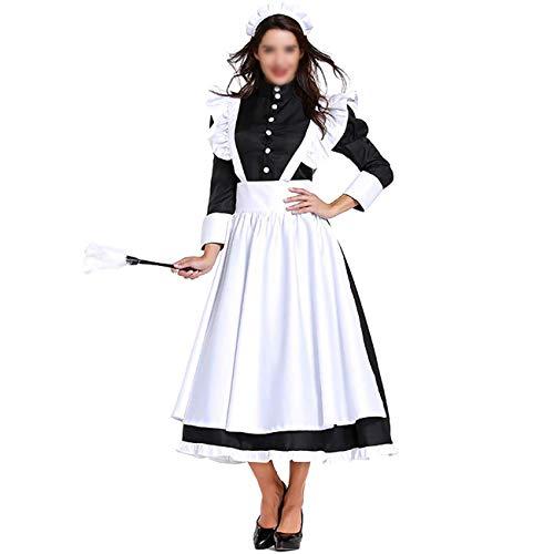 Maid Kostüm Männliche - Feynman Unisex Hausmädchen Kostüm Dienstmädchen Kleider mit Schürze Maid Cosplay für Party Halloween Karneval