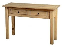 Home Discount Panama Console Table 2 Drawer, Natural Oak