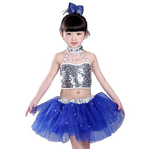 Tanz Kostüm Freestyle Jungen - ZYLL Tanzkostüme für Jungen Jazz Kostüme für Kinder Jazz Kostüme Mädchen Modern Dance Wear,Blue,130CM