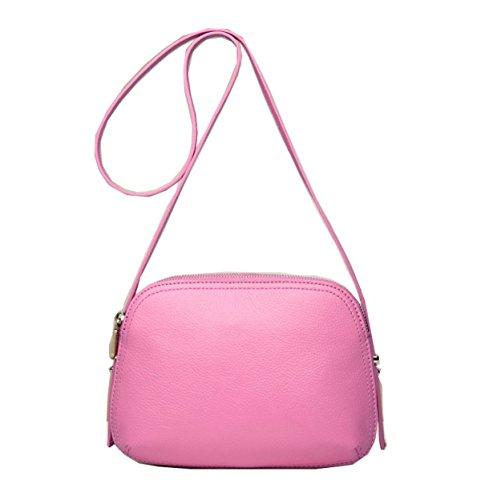 PACK Doppio Zipper Borse In Pelle Borsa Messenger Borsa Piccola Borsa Tracolla Squisita Litchi Pattern,C:WaterBlue B:Pink