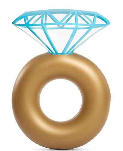 Aufblasbare Diamond Ring Pool Float - Verlobungsring Junggesellenabschied Tube Stagette Schwimmen Floaty Outdoor Water Lounge für Erwachsene & Kinder (Verlobungsringe Kinder)