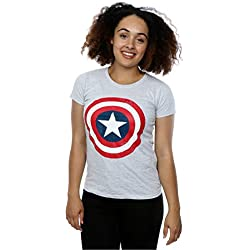 Marvel mujer Captain America Distressed Shield Camiseta Small cuero gris