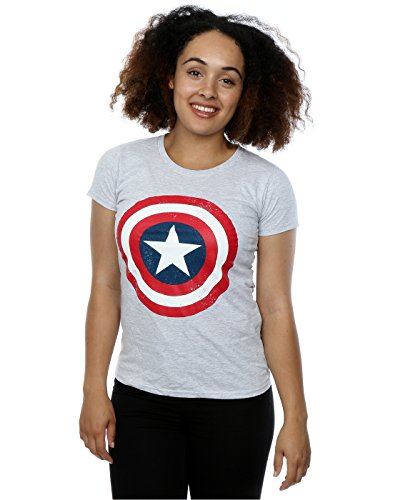 Marvel Damen Captain America Distressed Shield T-Shirt Large Heather Grey (Shield Tee Womens)