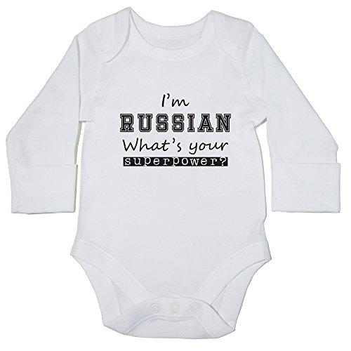 hippowarehouse I 'm Russian Was ist Ihre Supermacht? Baby Body (Langarm) Jungen Mädchen Gr. 68, weiß
