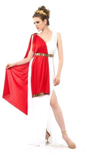 Generique - Römer-Göttin-Kostüm für Damen Weiss-rot-goldfarben XS