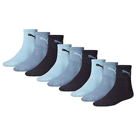 PUMA crew lot de 9 paires de chaussettes de sport avec dessous en éponge unisexe Bleu bleu marine 39/42