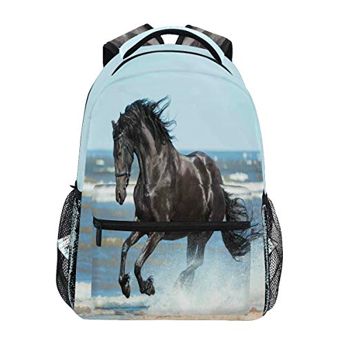 Schwarzer friesischer Rucksack mit Pferdemotiv, wasserfest, Schulranzen, Sport-Rucksack, Strand-Tier-Rucksack, Laptop-Tasche, Outdoor-Reisetasche für Kinder, Jungen, Mädchen, Damen, Herren