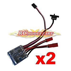 Rcmodelpart Rc ESC 10a Brushed Motor Speed Controller 1/16-24 for Car Boat Tank W/brake(Pack of 2 Pcs) by Rcmodelpart