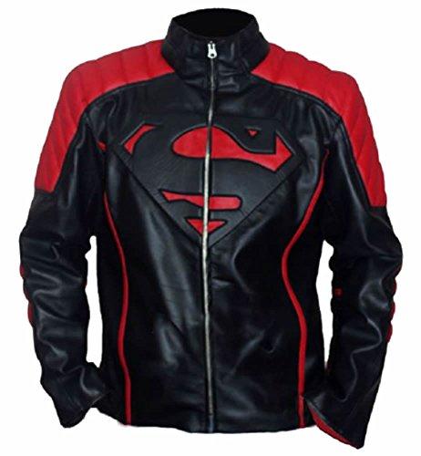 classyak da uomo Fashion Super Rosso e Nero Giacca in pelle Faux Black XXXXXL - Per petto 132,08 cm-137,16 cm
