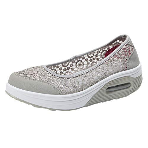 CUTUDE Damen Schnüren Sich Hohle Breathable Rutschfeste Schuh Turnschuh Freizeit Schuhe (Grau, 40 EU)