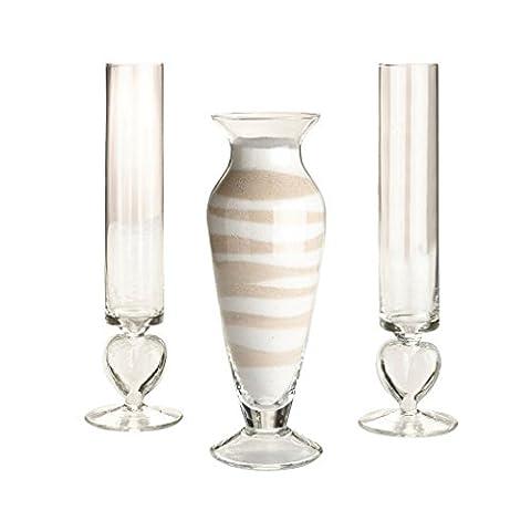 Ensemble de 3 Cérémonie de mariage de verre de sable d'unité Vase Set