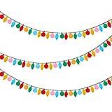 3 Pièces Bannières en Feutre de Noël Guirlandes Lumineuses en Feutre Bannières en Forme de Bulbe Coloré pour Patio Maison Porte Chambre Décorations de Fête d'anniversaire de Noël