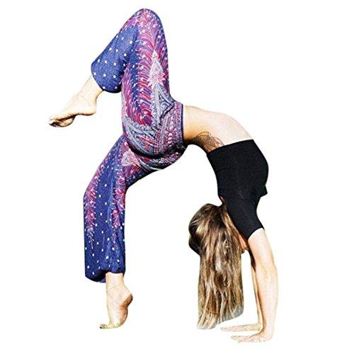Damen Yoga Leggings, SHOBDW Männer Frauen Thai Harem Hosen Boho Festival Hippie Kittel Hohe Taille Yoga Hosen (One Size, Marine)
