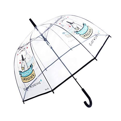 Paraguas Transparente, a Prueba de Viento y a Prueba de Lluvia, Forma de la bóveda de Moda con Unicornio patrón, Paraguas Largo, Negro
