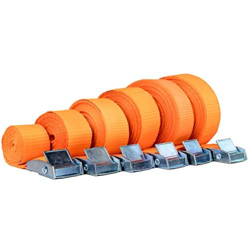 Safetytex Spanngurt Zurrgurt Schnellverschluss Klemmschloss 1 m bis 6 m Verschiedene Längen und wählbare Stückzahl 250kg DIN EN 12 195-2 (4 Stück 2.5 cm x 5 m)