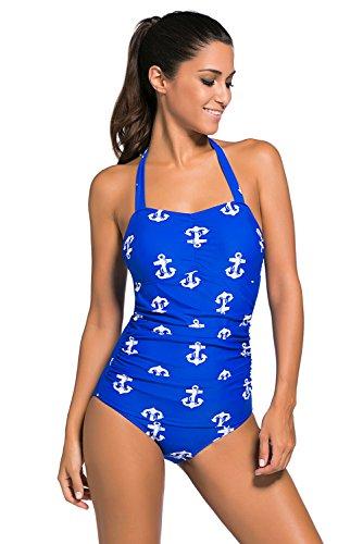 Neue Damen Blau & Weiß Anker Print 50er Jahre Stil Neckholder Badeanzug einem Stück Monokini Dance Wear Kostüm Größe S UK 8–10EU (Dance Kostüme 50's)