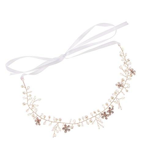 Baoblaze Elegante Perlen Kristall Hochzeit Haarband Stirnbänder Strass Krone Diadem Braut Tiara Haarschmuck Kopfschmuck Haarkämme Haarnadeln - Roségold