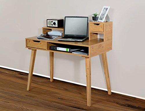 Möbeldesign Team 2000 1194 - Schreibtisch Sekretär in Verschiedenen Farben, mit massiven Füßen (wildeiche/Eiche massiv)