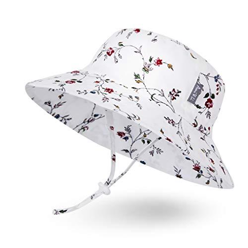 Ami & Li tots Mädchen Sonnenhut Eimer Einstellbar für Baby Mädchen Jungen Säugling Kind Kleinkind Hut Sonnenschutz UPF 50 Unisex - L: Blumenweinlese