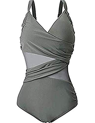 FeelinGirl Monokini Badeanzug Elegant Bikini Einteilig Bauchweg Bademode Push up Badebekleidung Badeanzüge Bauch Weg 3XL Grau - Tan-sport-bh