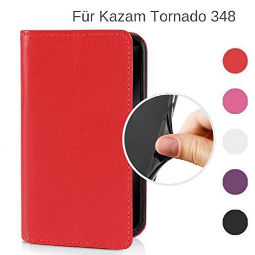 MOKASY Tornado 348 Hülle kompatibel mit Kazam ☑️ Tornado 348 ☑️ unzerbrechliche Schutzhülle Handyhülle aus Silikon mit Magnetverschluss und Fach Rot
