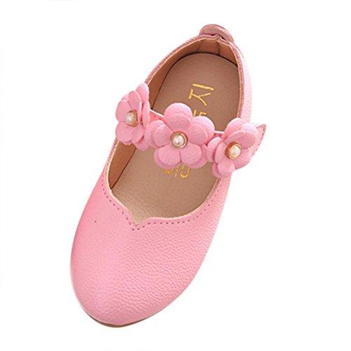 FNKDOR Mädchen Mary Jane Halbschuhe Damen Ballerinas Schuhe, Kinder - Jugend (21/ Fußlänge:13.5CM, Rosa) -