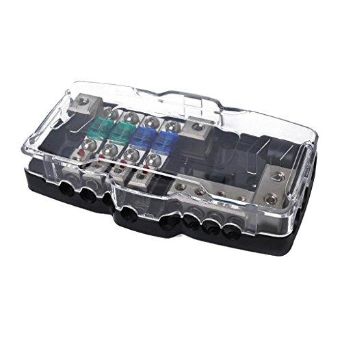 IPOTCH Fahrzeuge Audio Stromverteiler 4-Weg ans Sicherung Verteilerblock mit Sicherungen hitzebeständiges Kunststoffgehäuse Marine Distribution Panels