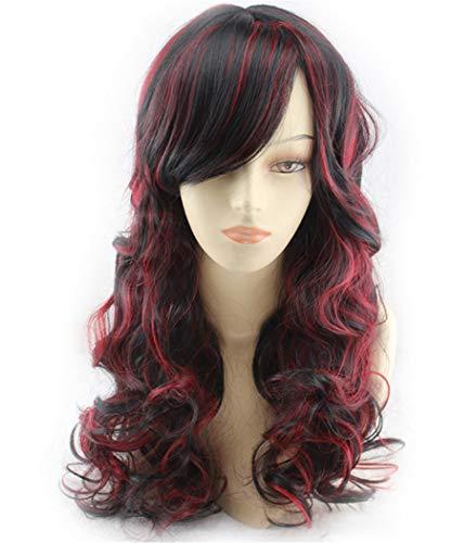 (XXSPU Perücke lockiges Haar Damenperücke Erwachsene Perücke Langen Abschnitt Perücke Läuse, schwarz rot)