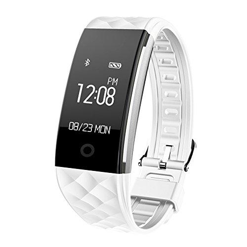 HR Fitness Tracker,Juboury Fitness Armband mit Touchscreen Aktivitäts-Tracker,Herzfrequenz,Schrittzähler,Schlaf Monitor,Treppen Zähler, Kalorien Tracker.Bluetooth Smart Wristand Wearable für Android und IOS Smartphones (Weiß)