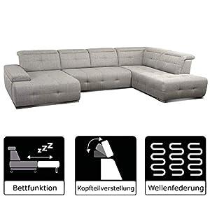 Cavadore Wohnlandschaft Mistrel/Großes Sofa mit Ottomane rechts und XL Longchair links/Inkl. Kopfteilverstellung / 343 x…