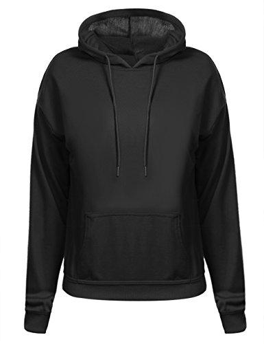 Aibrou Damen Kapuzenpullover Baumwolle Winter Hoodie Pullover Casual Langarm Sweatjacke Sweatshirt Kapuzen Shirt Jacke Kurz mit Tasche Schwarz