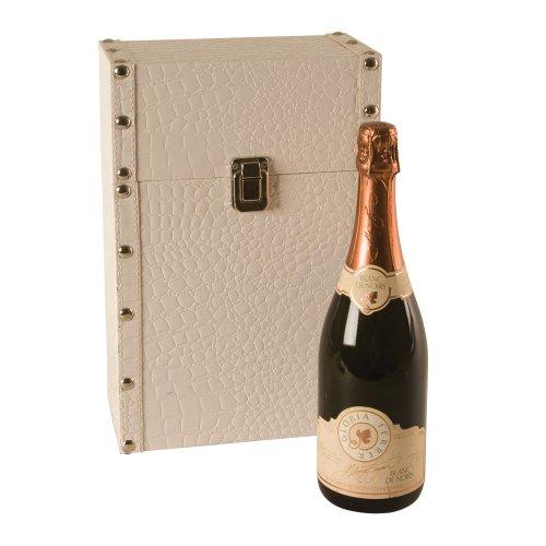 Faux-leder-wein (Wilco Imports Creme Faux Leder Zwei Flasche Wein Trunk 9Zoll von 12,7cm von 13-3/4-Zoll)