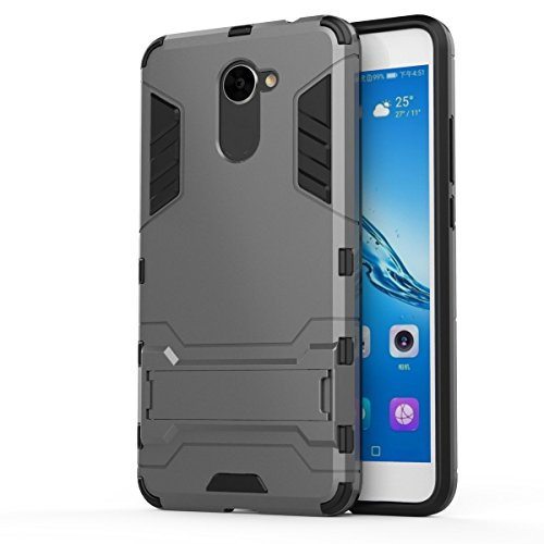 Huawei Y7 Case,SMTR Built-in Kickstand Hybrid Armor Case Detachable 2 in 1 Shockproof Tough Rugged Dual-Layer Case Cover for Huawei Y7 - gray