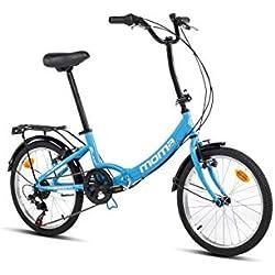 "Moma Bikes Bicicleta Plegable Urbana SHIMANO FIRST CLASS 20"" Alu, 6V. Sillin Confort, Azul"