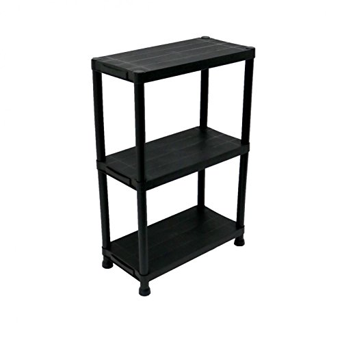 Oypla 3 Tier Schwarz Kunststoff Heavy Duty Regale Racking Storage Unit
