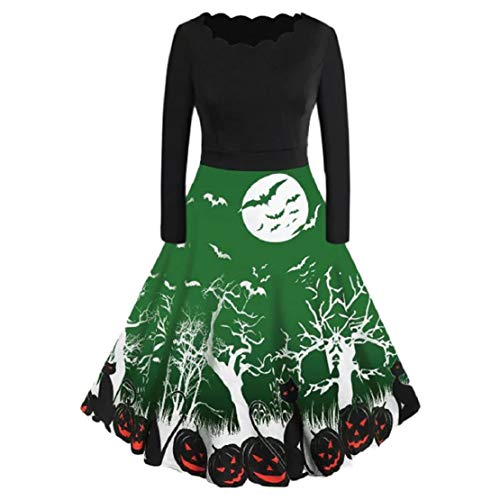 Bluelucon Damen Halloween Vintage A-Line Kürbis Langarm Rockabilly Partykleid Abendkleid Karneval Party Kostüm Retro 50s Party Prom Swing Dress Audrey Hepburn Festliches Kleid Geblühmt -