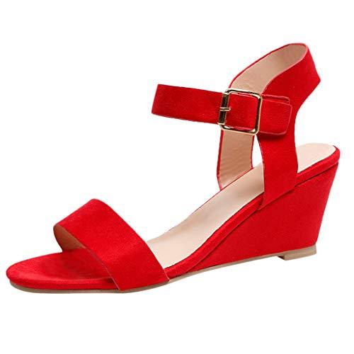LUGOW Keile Ferse Sandalen Damen Böhmen Sandalen Schnalle Sandalen Sandalen Pantoletten Hausschuhe Zehentrenner Espadrille Sport Outdoorschuhe Pumps Römische Schuhe(42,Rot)