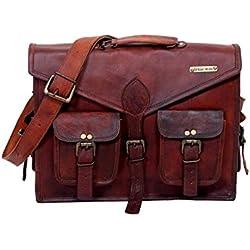 Urbankrafted hermoso hecho a mano de los hombres de cuero en bandolera bolso del hombro del caso del mensajero