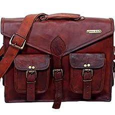Urbankrafted Beautiful Handmade Mens Distressed Leather Messenger Laptop Case Shoulder Bag