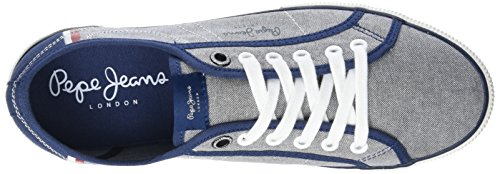 Pepe Jeans Aberman Court, Sneakers Basses Homme Bleu (Chambray)