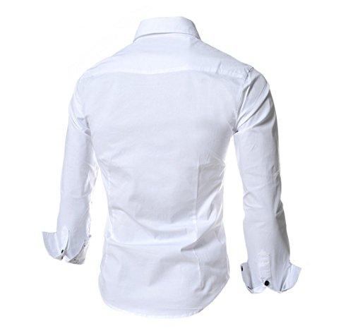 Ghope Homme Chemise Slim Fit Repassage facile, Casual Homme Chemise Rayuré à Manche Longue en Coton Blanc