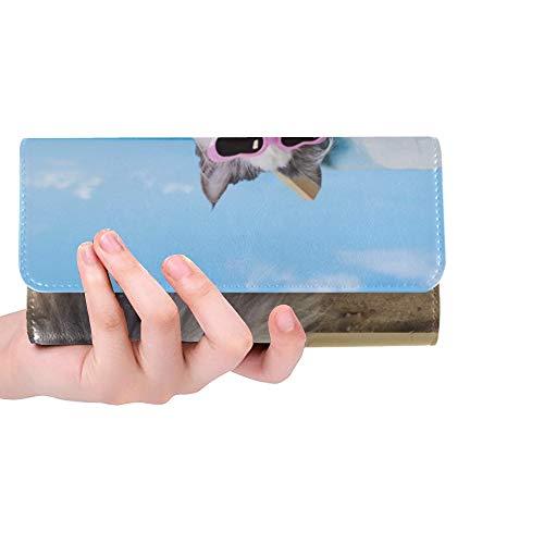 Einzigartige benutzerdefinierte Katze ruht auf Sonnenliege Frauen dreifach gefaltete Brieftasche Lange Geldbörse Kreditkarteninhaber Fall Handtasche