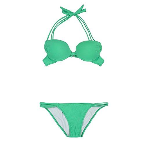 Asvert zweiteiliger Bikini Bademode aus Nylon, Push up gepolsterte Badeanzug Bademode Set Gr¨¹n