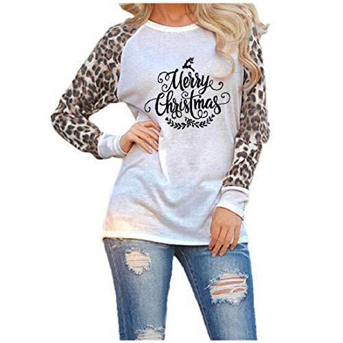 DEELIN Camiseta Mujer Manga Larga Tops Blusa Pullover Navidad Leopardo Moda SeñOras Gran TamañO Sudadera