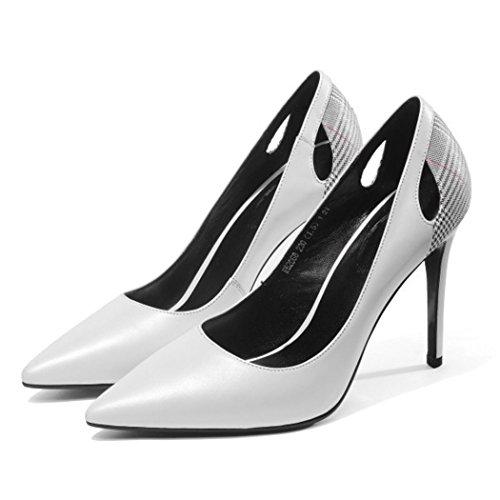 CBDGD Frauen High Heels 9cm schwarzes Kleid Spitze professionelle Arbeitsschuhe weiße Plaid High Heels Gericht Schuhe High Heels High Heels (Color : White, Size : 36 EU) -