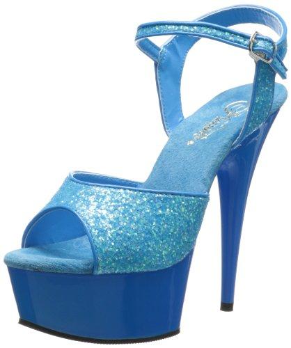 Pleaser Delight-609uvg, Sandali Punta Aperta Donna Neon Blue Gltr/Blue