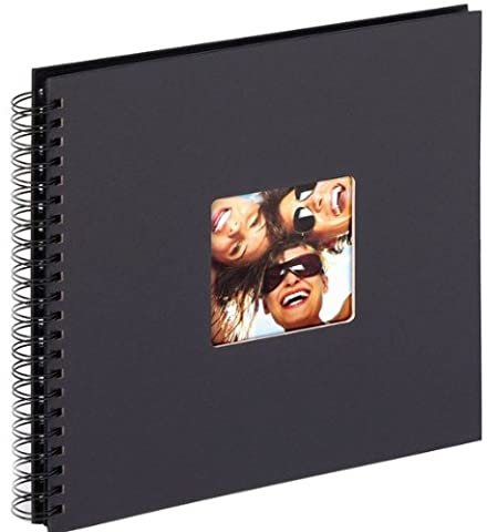 walther design SA-110-B Fun Standart high quality wire-o bound album with die cut for your personal picture, 11.75 x 11.75 inch (30 x 30 cm), 50 black pages, black