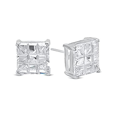 Square Cut Clear Simulated Diamond 10mm CZ Sterling Silver Stud Earrings + Microfiber Jewelry Polishing