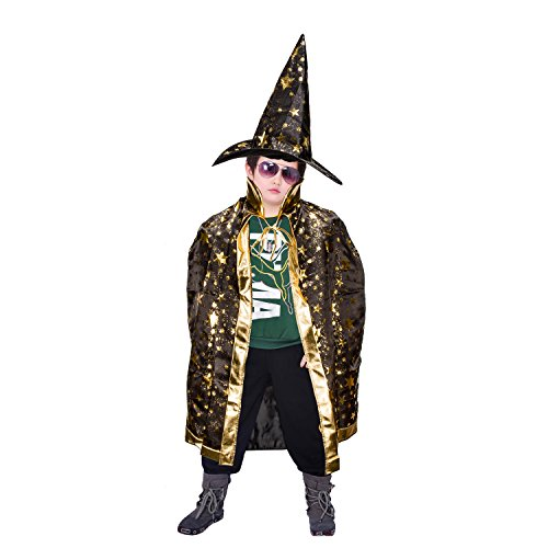 Halloween Kinder Umhang Mantel Zubita Umhang mit Sternen Halloween Kostüm Hexe Hexe Mantel mit Hut für Kinder Kinder Party Dekoration